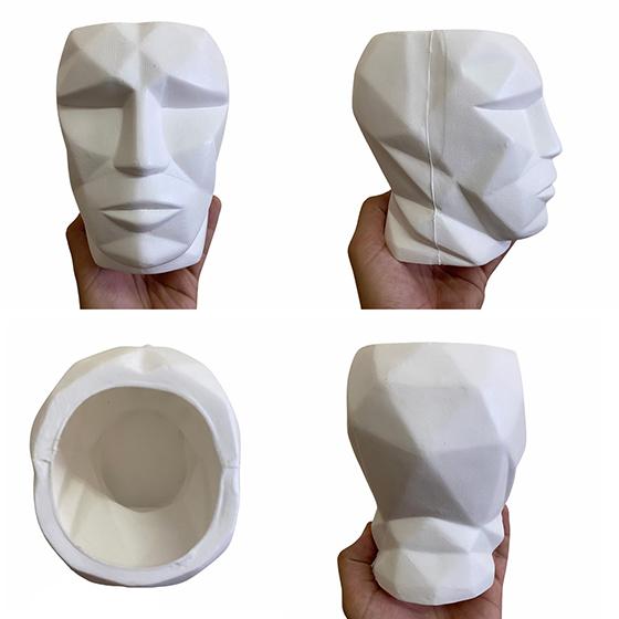 Cachepot 3D Plástico Fosco Branco