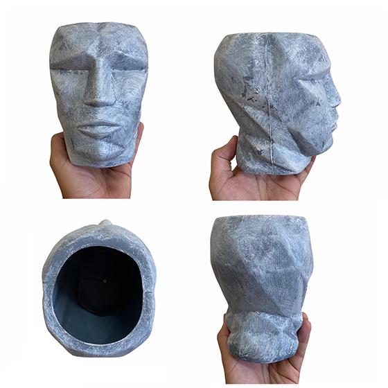 Cachepot 3D Plástico Fosco Cinza