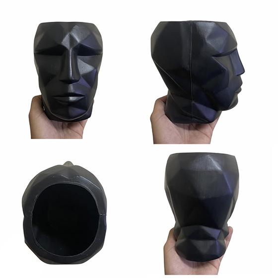 Cachepot 3D Plástico Fosco Preto