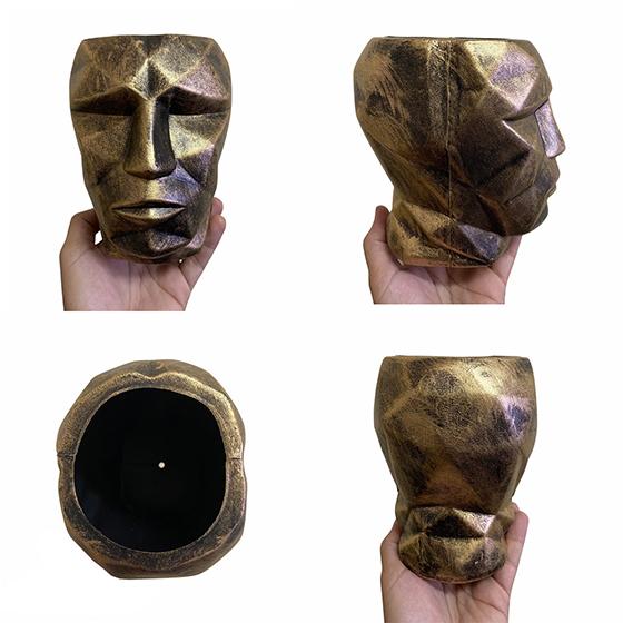 Cachepot 3D Plástico Metálico Dourado