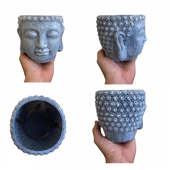 Cachepot Buda Plástico Fosco Cinza