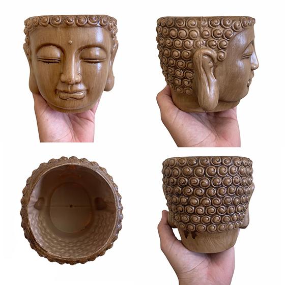 Cachepot Buda Plástico Fosco Marrom