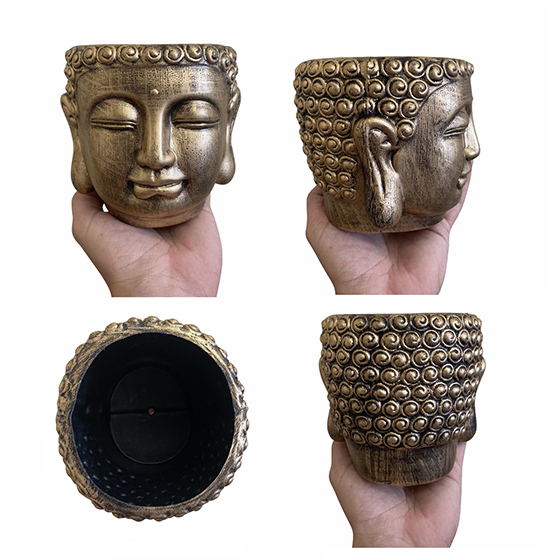 Cachepot Buda Plástico Metálico Dourado