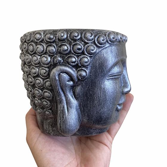 Cachepot Buda Plástico Metálico Prata