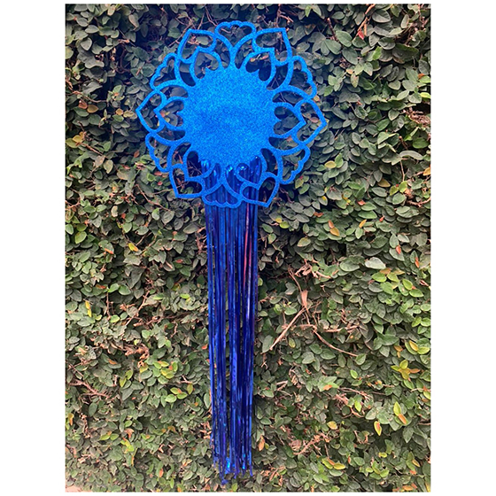Decoração de Parede Mandala EVA com Glitter e Fios Metalizados Azul