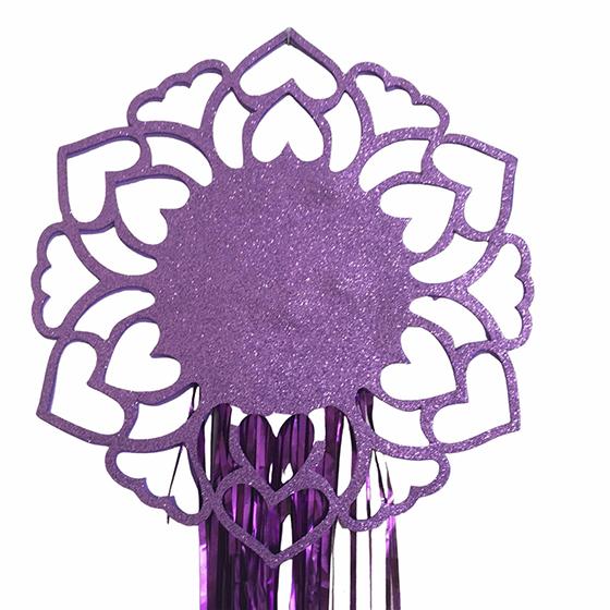 Decoração de Parede Mandala EVA com Glitter e Fios Metalizados Roxa