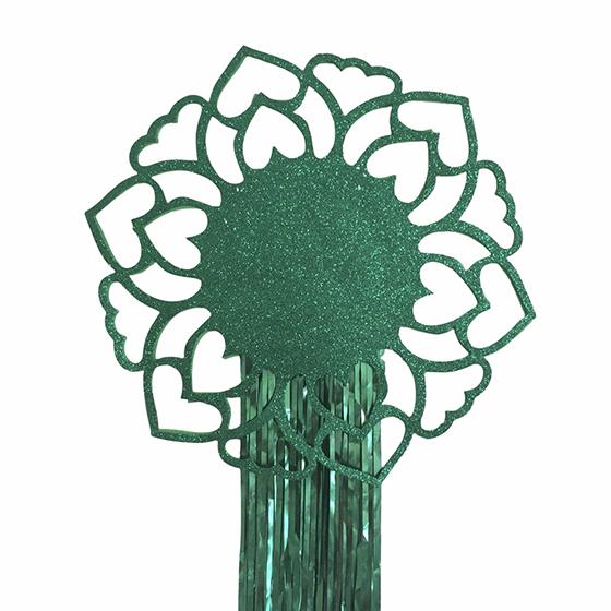 Decoração de Parede Mandala EVA com Glitter e Fios Metalizados Verde