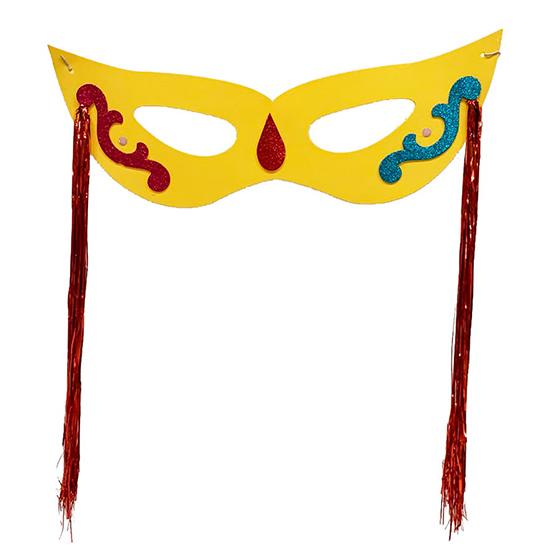 Máscara Carnaval Grande com Chicote Lateral Amarela