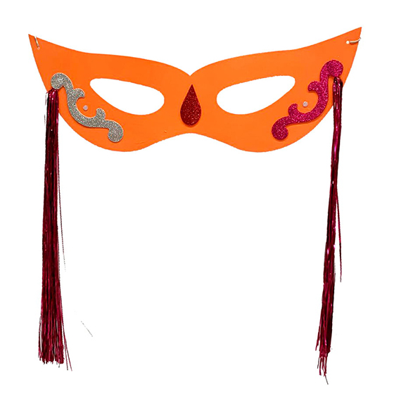 Máscara Carnaval Grande com Chicote Lateral Laranja