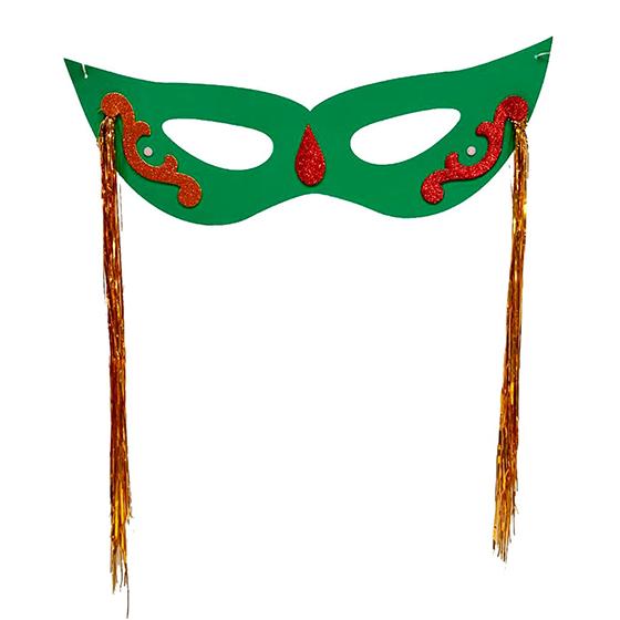 Máscara Carnaval Grande com Chicote Lateral Verde