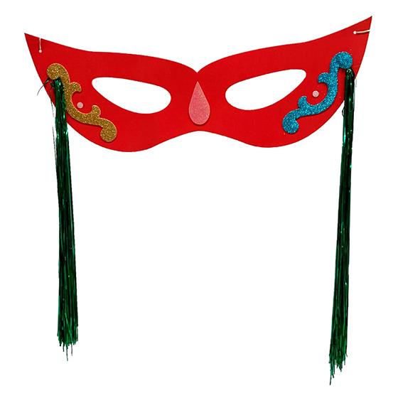 Máscara Carnaval Grande com Chicote Lateral Vermelha