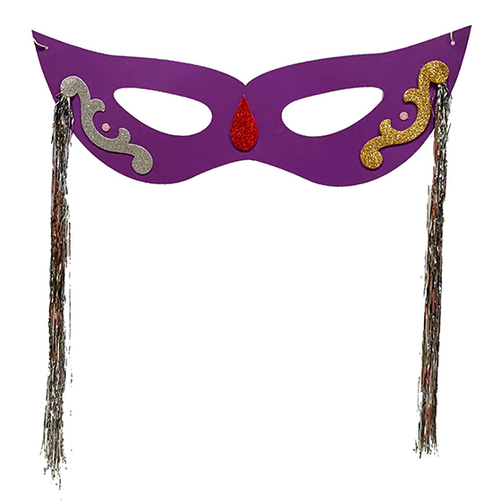 Máscara Carnaval Grande com Chicote Lateral Roxa