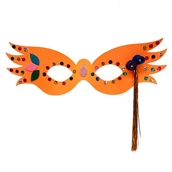 Máscara Carnaval Grande Luxo Laranja