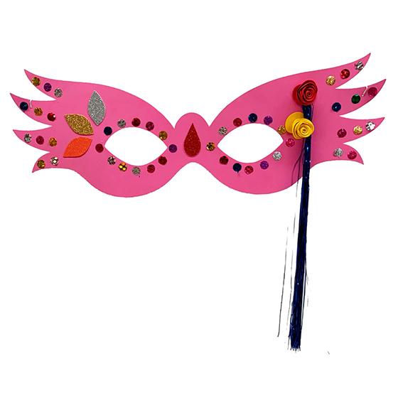 Máscara Carnaval Grande Luxo Rosa