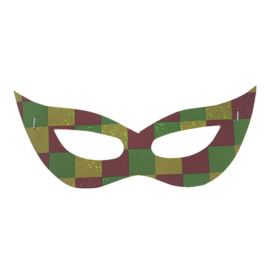 Máscara Carnaval Papel Laminado Holográfica Cores Sortidas - 12 unidades