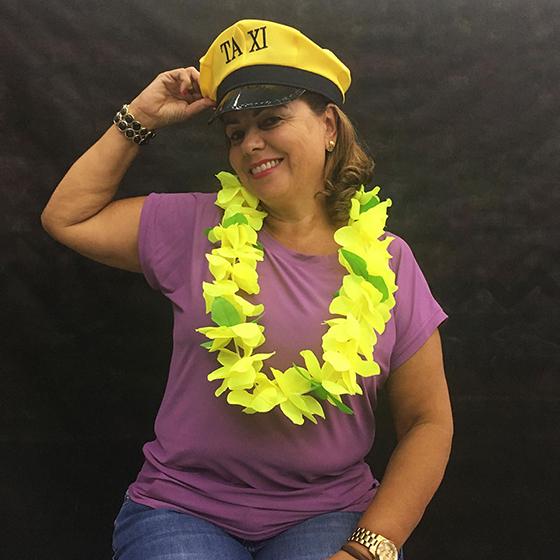 Colar Havaiano com Flores Bicolor Amarelo
