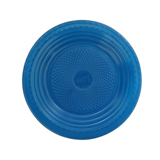 Prato de Bolo Descartável 15 cm Azul Escuro - 10 unidades