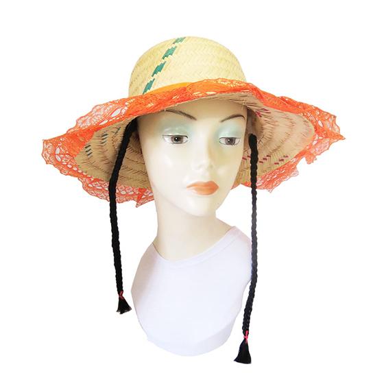 Chapéu de Palha Adulto com Trança Preta