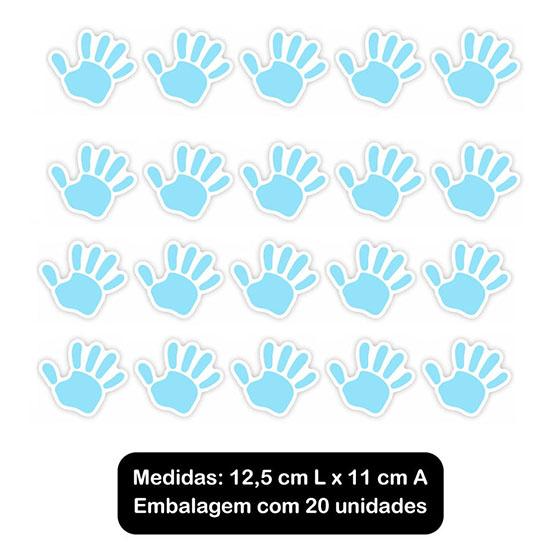Adesivo Decorativo Mãozinha Azul - 20 unidades