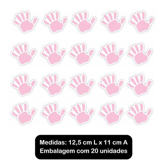 Adesivo Decorativo Mãozinha Rosa - 20 unidades