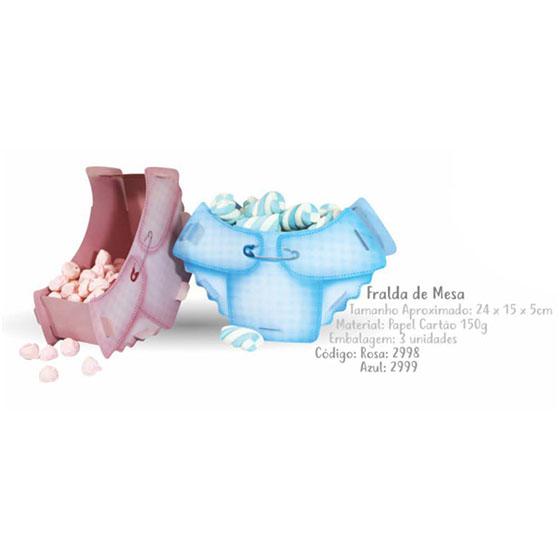 Caixa Decorativa Fralda Azul - 3 unidades