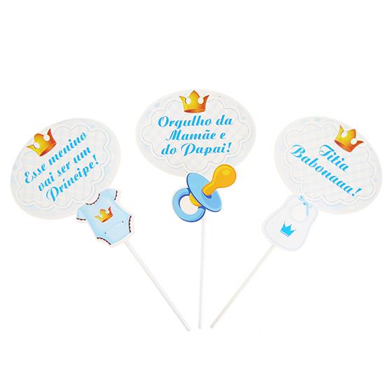 Plaquinhas Chá de Bebê Menino - 10 unidades