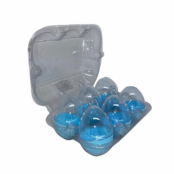 Mini Ovos de Páscoa Plástico 6x4 cm Azul com 6 unidades