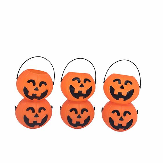 Mini Balde Abóbora Halloween - 6 unidades