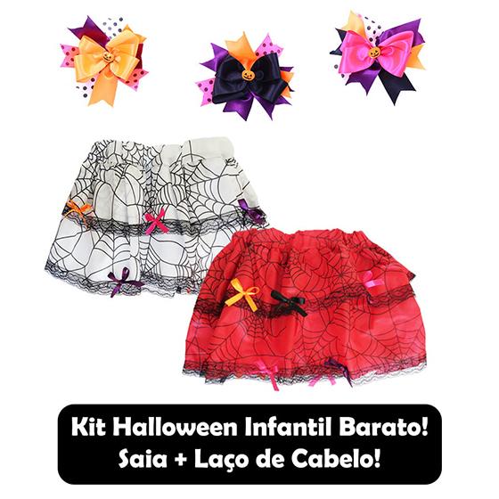 Kit Halloween Infantil (Saia+Laço) Barato!