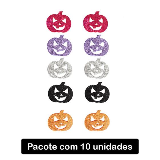 Aplique Halloween Abóbora EVA Glitter - 10 unidades