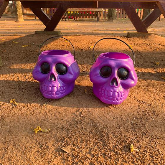 Balde Esqueleto Grande 15 cm Roxo Decoração Halloween