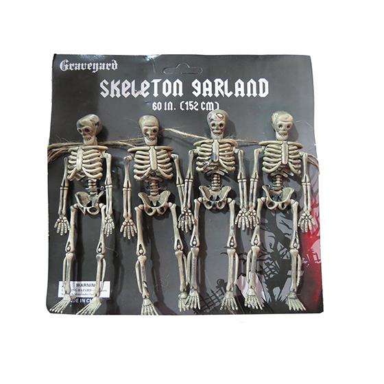 Varal Esqueleto Decoração de Halloween - 1,40 metros de comprimento