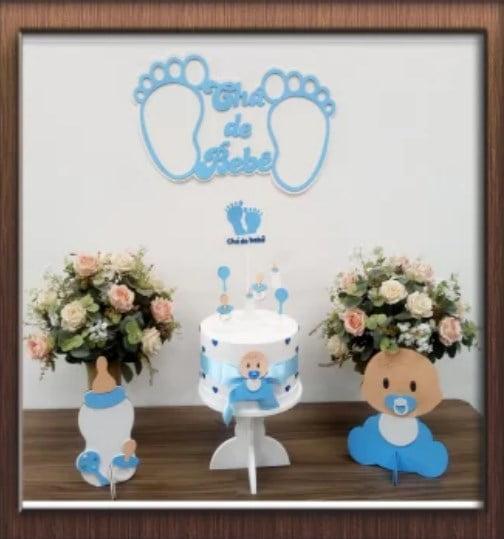 Kit Festa Pocket Party Chá de Bebê Azul
