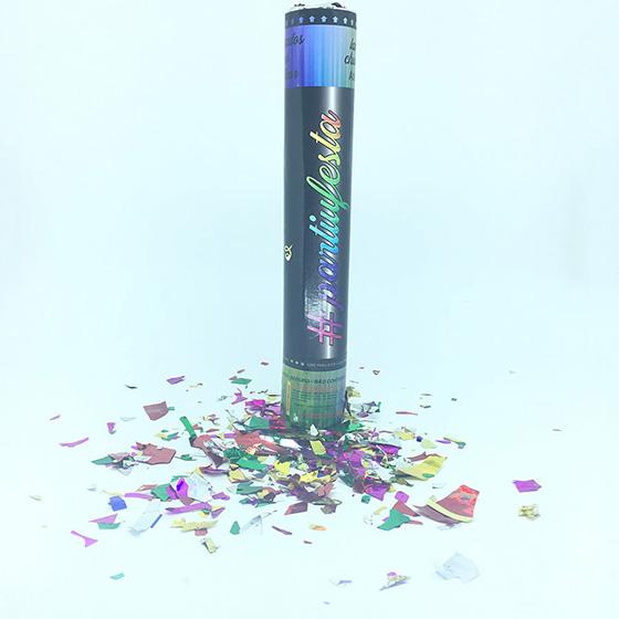 Lança Confetes de Papel Metalizado Colorido 30 cm