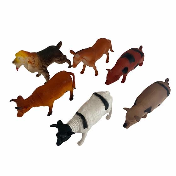 Kit Animais Fazendinha de Plástico para Decoração - 6 Peças