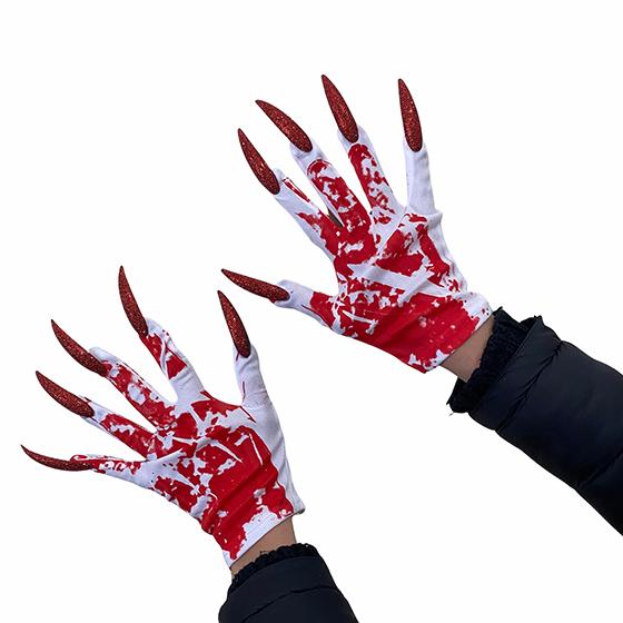 Par de Luvas Brancas com Unhas e Sangue Festa Halloween Cosplay
