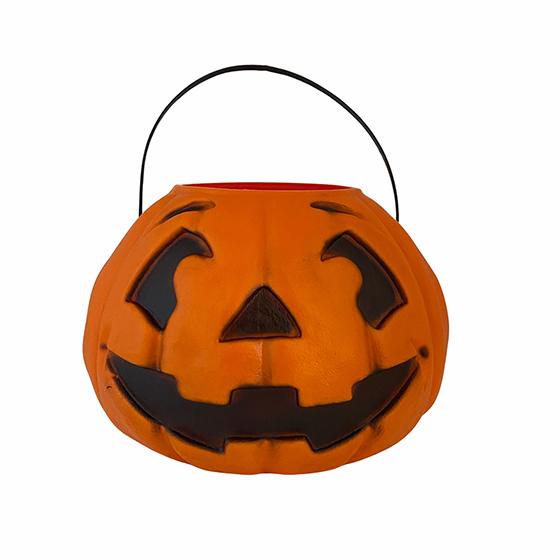 Balde Abóbora Grande Laranja 14 cm Decoração Halloween