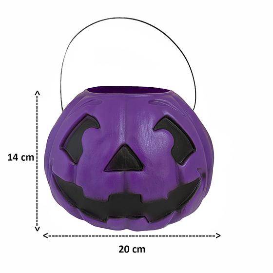 Balde Abóbora Grande Roxo 14 cm Decoração Halloween