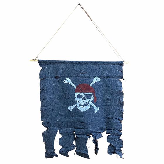 Bandeira Decorativa Pirata de Tecido