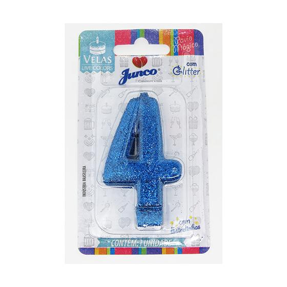 Vela Aniversário Live Colors com Glitter Azul - Número 4