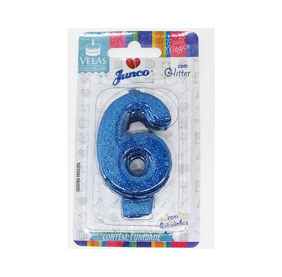 Vela Aniversário Live Colors com Glitter Azul - Número 6