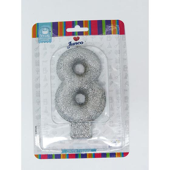 Vela Aniversário Live Colors com Glitter Gigante Prata - Número 8