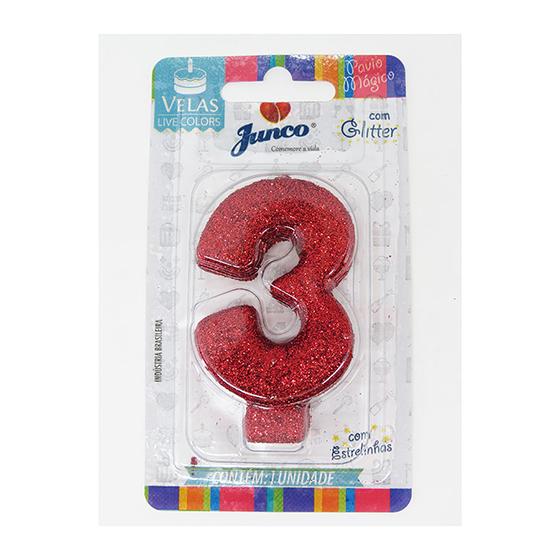 Vela Aniversário Live Colors com Glitter Vermelha - Número 3