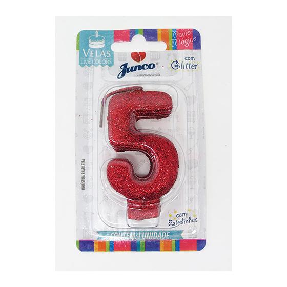 Vela Aniversário Live Colors com Glitter Vermelha - Número 5