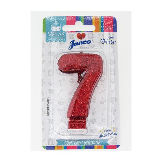 Vela Aniversário Live Colors com Glitter Vermelha - Número 7