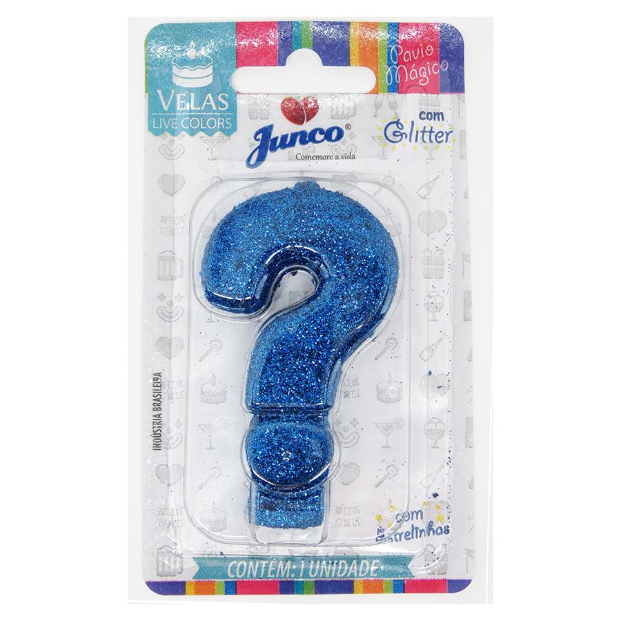 Vela Aniversário Live Colors com Glitter Azul - Ponto de Interrogação