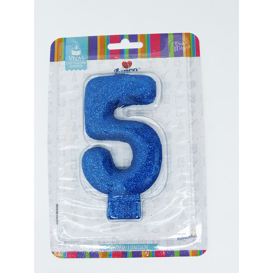Vela Aniversário Live Colors com Glitter Gigante Azul - Número 5